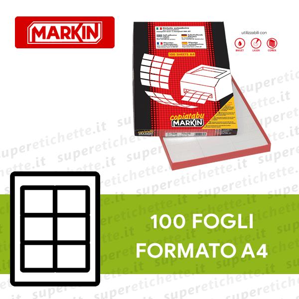 Confezione 100 Fogli Adesivi A4